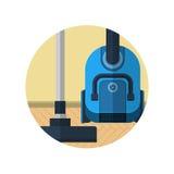 Icona piana per l'aspirapolvere nella sala Fotografia Stock