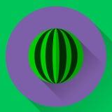 Icona piana rotonda di vettore di un'anguria Fotografia Stock