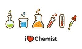 Icona piana semplice di chimica Icona degli strumenti del laboratorio di chimica con stile descritto illustrazione di stock