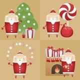 Icona piana stabilita Santa Claus di vettore con il contenitore di regalo, pino, sacco, caramelle, biscotto, latte, camino Fotografia Stock Libera da Diritti