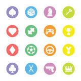 Icona piana variopinta del gioco messa sul cerchio illustrazione vettoriale