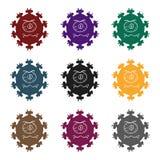 Icona porpora del virus nello stile nero isolata su fondo bianco Virus ed illustrazione di vettore delle azione di simbolo di bac Immagini Stock Libere da Diritti