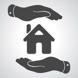 Icona preoccupantesi delle mani - casa proteggente royalty illustrazione gratis