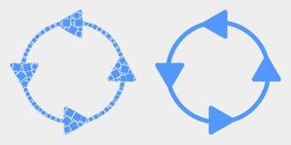 Icona punteggiata e piana delle frecce di circolazione del senso antiorario di vettore illustrazione vettoriale