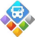 Icona quadrata del bus Immagini Stock