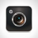 Icona quadrata della macchina fotografica di vettore retro Immagini Stock