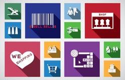 Icona quadrata di acquisto Fotografie Stock
