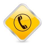 Icona quadrata gialla del telefono Fotografia Stock