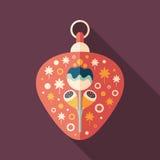 Icona quadrata piana del giocattolo rosso dell'albero di Natale con le ombre lunghe Fotografia Stock Libera da Diritti