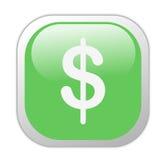 Icona quadrata verde vetrosa del dollaro Fotografie Stock Libere da Diritti