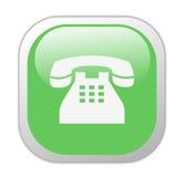 Icona quadrata verde vetrosa del telefono Fotografie Stock