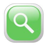 Icona quadrata verde vetrosa di ricerca Fotografia Stock