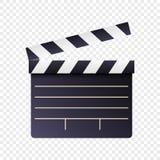 Icona realistica di ciac del film e di film su fondo trasparente bianco Modello del bordo dell'ardesia del cinema di progettazion illustrazione vettoriale