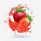 Icona realistica di vettore della spruzzata della frutta fresca del succo della fragola Fotografie Stock Libere da Diritti