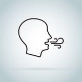 Icona respirante Incontrare difficoltà del respiro Sanità: controllo del respiro o soffrire i problemi di respirazione illustrazione vettoriale