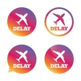 Icona in ritardo del segno di volo Simbolo di ritardo dell'aeroporto Fotografia Stock