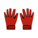Icona rossa dei guanti dello sci di inverno, stile piano illustrazione vettoriale