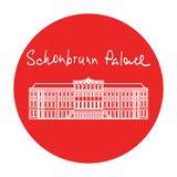 Icona rossa del cerchio di vettore del palazzo di Vienna Schonbrunn dentro Fotografie Stock