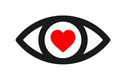 Icona rossa del cuore dell'occhio illustrazione vettoriale