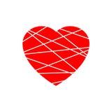 Icona rossa del cuore Segno di forma di struttura di lerciume isolato su fondo nero Vector l'illustrazione, il simbolo di romanti Fotografie Stock Libere da Diritti