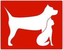 Icona rossa dell'animale domestico con il cane ed il gatto Fotografie Stock Libere da Diritti