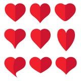 Icona rossa della raccolta del cuore, simbolo di amore, su fondo bianco Immagini Stock
