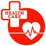 Icona rossa di sanità con cuore Fotografie Stock Libere da Diritti