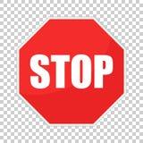 Icona rossa di vettore del fanale di arresto Illustrazione di vettore di simbolo del pericolo Fotografia Stock Libera da Diritti