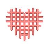 Icona rossa perforata del cuore dell'estratto, simbolo di plastica di amore Biglietti di S. Valentino a quadretti, emblema delle  royalty illustrazione gratis