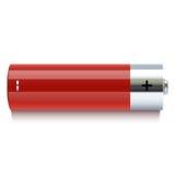 Icona rossa realistica della batteria illustrazione vettoriale