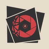 Icona rossa spezzettata dell'otturatore Logo dell'otturatore Immagini Stock Libere da Diritti