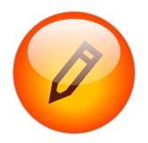 Icona rossa vetrosa della matita Fotografia Stock