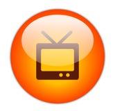 Icona rossa vetrosa della televisione Immagini Stock Libere da Diritti