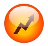 Icona rossa vetrosa di profitto Fotografia Stock