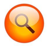 Icona rossa vetrosa di ricerca Immagini Stock Libere da Diritti
