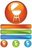 Icona rotonda arancione - BBQ Fotografie Stock