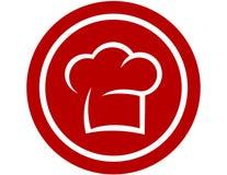 Icona rotonda con il cappello del cuoco unico Immagini Stock Libere da Diritti
