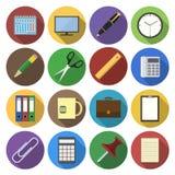Icona rotonda degli articoli per ufficio nella progettazione piana Fotografie Stock