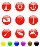 Icona rotonda del mare Fotografie Stock Libere da Diritti