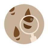 Icona rotonda dell'agente investigativo con le orme e la lente Fotografia Stock