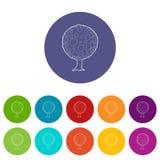 Icona rotonda dell'albero, stile del profilo Immagine Stock Libera da Diritti