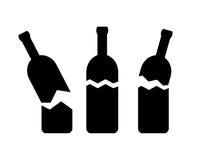 Icona rotta di vettore della bottiglia Immagine Stock Libera da Diritti