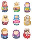 Icona russa delle bambole del fumetto Immagini Stock Libere da Diritti