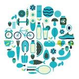 Icona sana di stile di vita messa nel colore blu Illustrazione Vettoriale