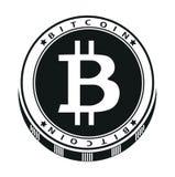 Icona scura monocromatica del bitcoin su un fondo bianco Illustrazione di vettore Fotografie Stock