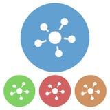 Icona semplice, circolare, rettilinea, astratta dei collegamenti Quattro variazioni di colore royalty illustrazione gratis
