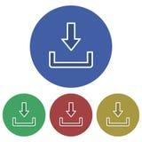Icona semplice, circolare, rettilinea di download struttura bianca Quattro variazioni di colore illustrazione di stock