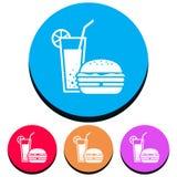 Icona semplice, circolare, rettilinea di un cocktail/bevanda e un hamburger/panino Quattro variazioni di colore royalty illustrazione gratis