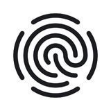 Icona semplice dell'impronta digitale isolata su fondo bianco Fotografia Stock Libera da Diritti