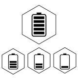 Icona semplice della batteria con il livello della tassa Livello del poligono Immagini Stock